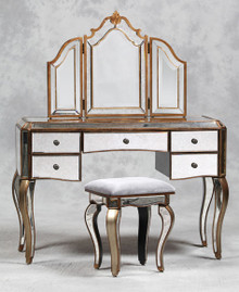 Mirrored Dressing Table Mirror Stool Set, Gold, Antique Venetian Style