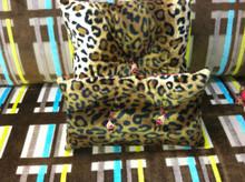 Cheetah Throw Pillow with a double tassel detail, Lumbar 15 x 8 inches