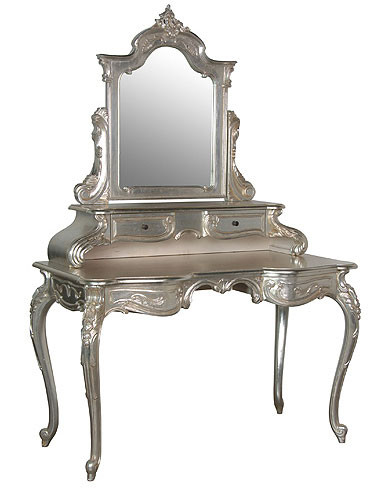 Silver vanity table french chic for Silver vanity table