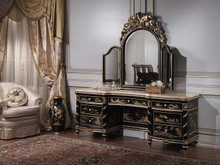 Louis XVI Vanity Table, Gold Leaf / Lacquered Black