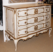 Marie Antoinette Chest of Drawers, 3 Drawers Antique White & Gold