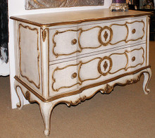 Marie Antoinette Chest of Drawer, 2 Drawers Antique White & Gold