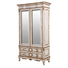 Marie Antoinette 2 Door Mirrored Armoire, Antique White & Gold