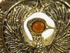 Staff of RA Headpiece, Antique Gold, Solid Metal, Amber Jewel and Stand
