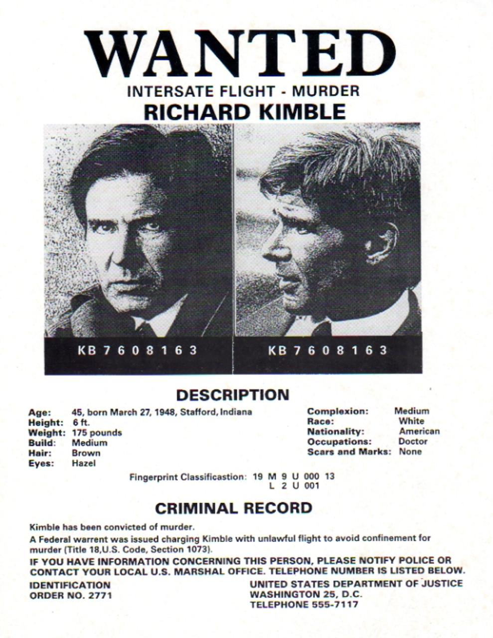 The Fugitive TV Series Real Prop Wanted Poster David Jansen – Criminal Wanted Poster
