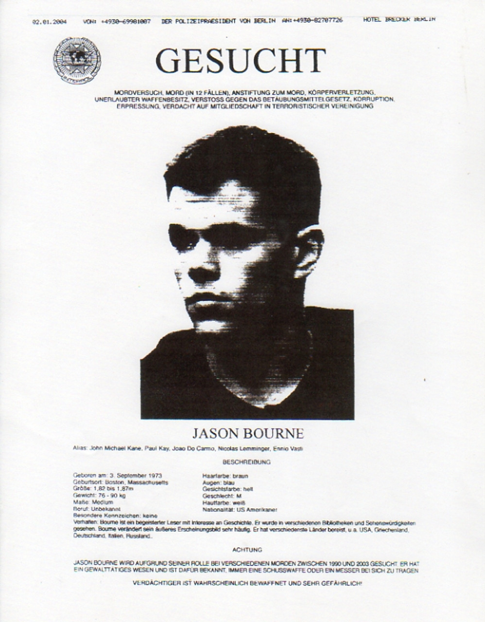 The Bourne Supremacy Real Prop Wanted Poster Matt Damon Reel Art – Real Wanted Poster