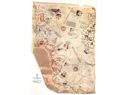 Piri Reis Map, 1st map to show Americas & Antarctica 24 X 36 High Gloss Poster