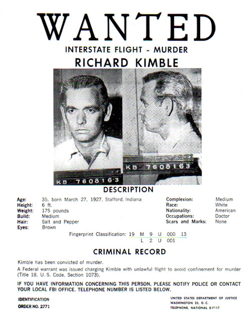 The Fugitive Real Prop Wanted Poster Harrison Ford Reel Art – Real Wanted Posters