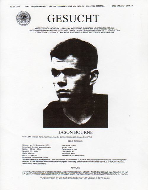 The Bourne Supremacy,  Wanted Poster, Matt Damon
