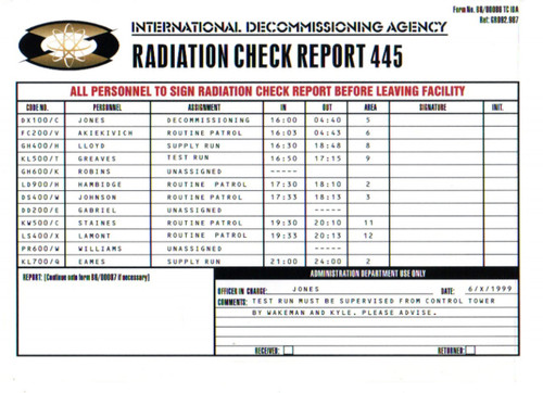 007 James Bond, The World Is Not Enough, Decommissioning Check Report 445 (A) Prop