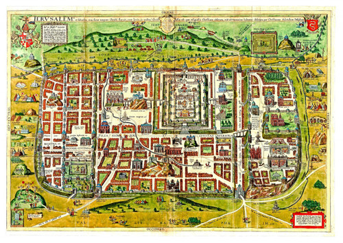 Ancient Templar Color Map of Jerusalem B, Shows old Sites, Downloadable PDF
