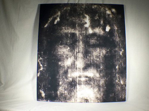 Shroud of Turin Full Size Face Negative on Linen Cloth 3 x 3 feet with wood frame