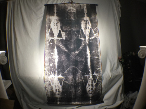 Shroud of Turin Full Size Body Negative on Linen Cloth 6 x 3 feet with Wood Holders