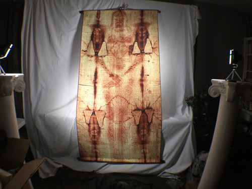 Shroud of Turin Full Size Body Sepia on Linen Cloth 6 x 3 feet with Wood Holders