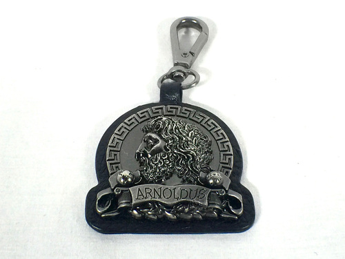Arnoldus Antique Silver Metal Black Leather Quick Connect Keychain