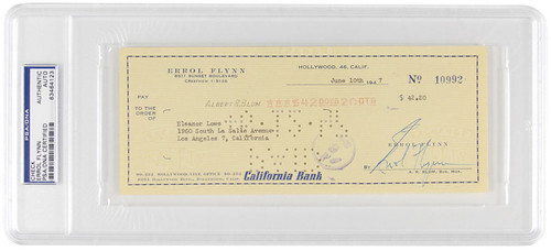 Errol Flynn PSA/DNA Authenticated and Encapsulated Signed Check