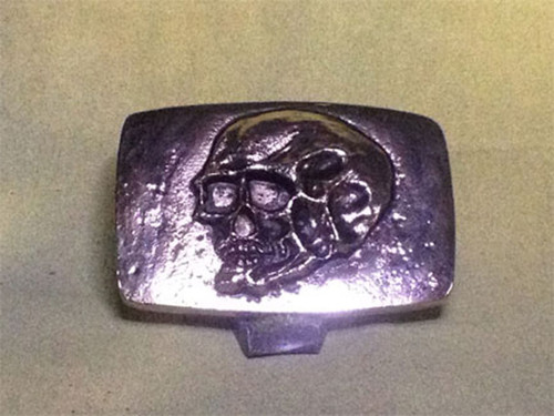 Tomb Raider, Skull Belt Buckle, Solid Metal, Silver