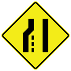 FED W4-2 Pavement Transition Left Warning Sign