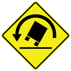 FED W1-13L Truck Rollover Left Warning Sign