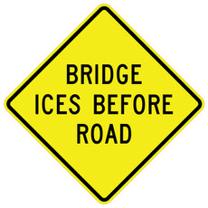 FED W8-13 Bridge Ices Before Road Warning Sign