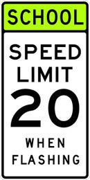 FED S5-1 School Speed Limit 20 When Flashing