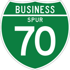 M1-3 Business Spur Shield Sign White on Green