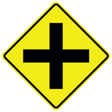 W2-1 Cross Roads (SYM) Warning Sign Black on Yellow