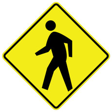 W11-2 Pedestrian (Sym) Warning Sign Black on Yellow