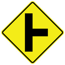 W2-2R Side Road Perpendicular Right Black on Yellow