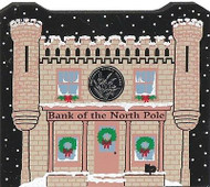 Cat's Meow Village Christmas Bank of North Pole Glitter Snow #17-0922