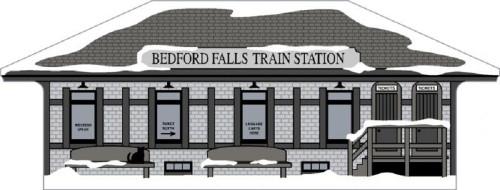 Cat's Meow Village Wooden Keepsake Shelf Sitter Wonderful Life Bedford Train Station
