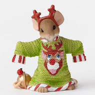 Charming Tails Mouse Figure Such a Deer Christmas Cheer GRN Sweater #4046951 NEW