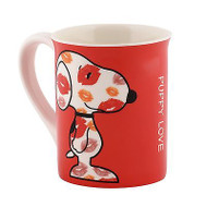 DEPT 56 Valentine's PEANUTS Snoopy Puppy LOVE Bright Ceramic Mug #4040298 NIB