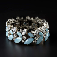 Large Blue Aqua Cluster Stretch Bracelet 4052093