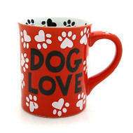ENESCO MUD Lorrie Veasey Ceramic Dog Love Red Paws 16 OZ MUG #4026114 NIB
