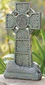 "Joseph's Studio 16.25""H Celtic Rough Stone-Look Cross Garden Statue #65983 NEW"