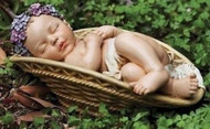 "Joseph's Studio ROMAN 4.75"" H Sleeping Baby in Basket Garden Figure #64422 NEW"