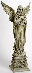 "Joseph's Studio ROMAN 48"" Angel Holding Wreath Memorial Garden Figure #47623 NEW"