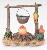 "ROMAN FONTANINI Nativity 3.75 LED Campfire with Pot 5"" Scale Assessory 59532 NEW"