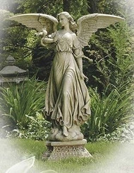 "Joseph Studio 46.5"" SPREAD WINGED ANGEL ON PEDESTAL Garden Figure Statue"