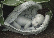 "7"" Sleeping Baby in Wings Garden Figure/Statue"