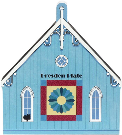 Cat's Meow Village Wooden Shelf Sitter - Dresden Plate Quilt Barn Quilt Block 16-511
