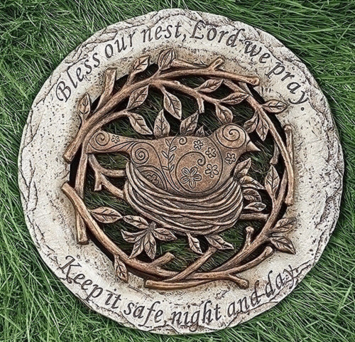 ROMAN Garden Yard Stepping Stone Bird on Nest - Bless Our Nest Lord, #10206