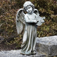 Angel playing harp garden statue #66261