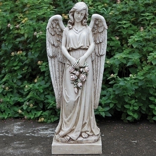 Angel with rose wreath, Garden Statue - #66290