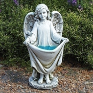 Solar Birdbath  Angel holding Dress, #66332