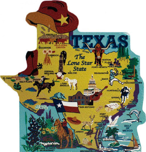 Texas State Map Wooden Keepsake Cats Meow VillageUSA Points Of - Us map with points of interest