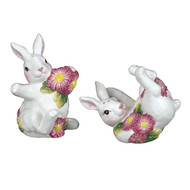 SADEK Rabbits with Daisies Salt Pepper Shakers