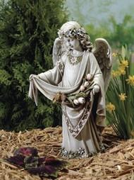 Joseph Studio Angel with Birds on Dress Garden Statue
