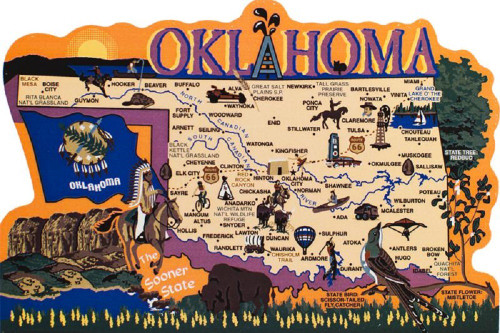 Oklahoma State Map Wooden Keepsake Cats Meow VillageUSA Points - Us map with points of interest